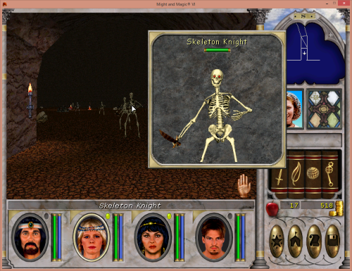 Might and Magic 6 - Fighting a bunch of skeletons